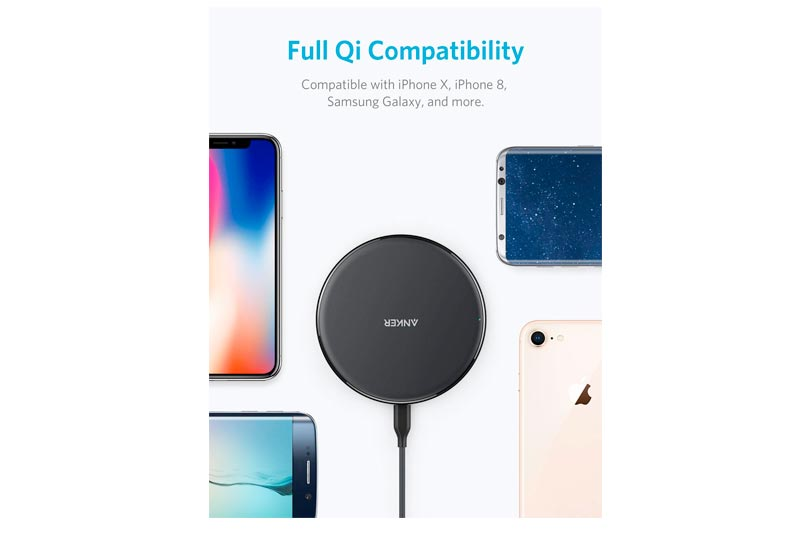 Anker Wireless Charger, Qi-Certified Ultra-Slim Wireless Charger Compatible iPhone X, iPhone 8/8 Plus, Samsung Galaxy S9 / S9+/ S8/ S8+ / S7 / Note 8 More, PowerPort Wireless 5 Pad (No AC Adapter)