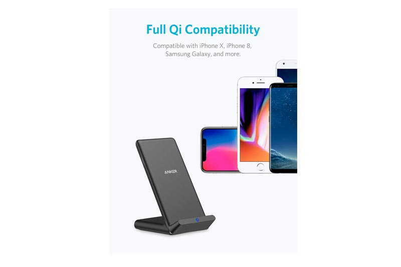 Anker Wireless Charger, Qi-Certified Wireless Charging Stand, Compatible iPhone X, iPhone 8/8 Plus, Samsung Galaxy S9/S9+/S8/S8+/S7/Note 8 More, PowerPort Wireless 5 Stand (No AC Adapter)