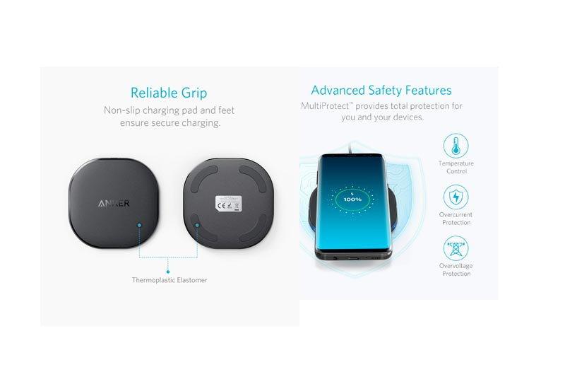 Anker 10W Wireless Charger, Qi-Certified Wireless Charging Pad, PowerPort Wireless 10 Compatible iPhone 8/8 Plus, iPhone X, 10W Fast-Charging Samsung Galaxy S9/S9+/S8/S8+/S7/S7 Edge More