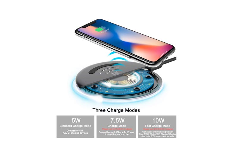 Yootech Wireless Charger,Qi-Certified 7.5W Wireless Charger Compatible iPhone X/8/8 Plus,10W Compatible Samsung Galaxy S9/S9 Plus/Note 8/S8/S8 Plus, 5W All Qi-Enabled Phones (No AC Adapter)
