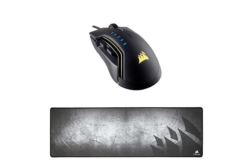 Corsair GLAIVE RGB Gaming Mouse, Backlit LED, 16000 DPI, Optical, Black and Corsair Gaming MM300 Anti-Fray Cloth Gaming Mouse Pad, Extended