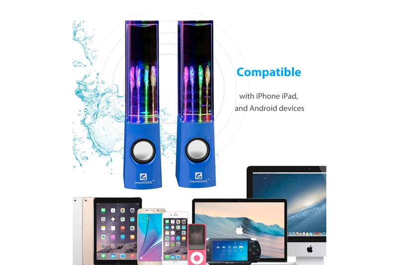 SoundSOUL Water Dancing Speakers Light Show Water Fountain Speakers LED Speakers (3.5mm Audio Plug, 4 Colored LED Lights, Portable Speakers, for Your in Thanksgiving/Christmas) -Blue
