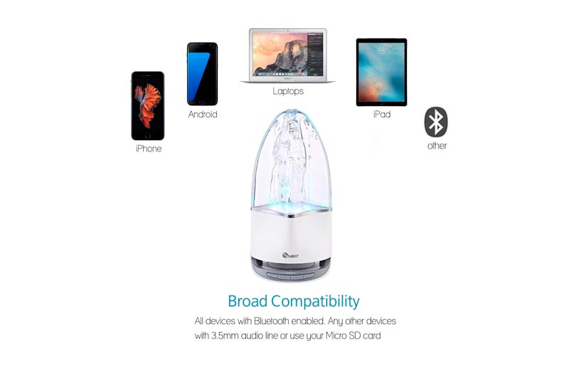 Svance Dancing Water Speaker Portable Wireless Bluetooth Speakers Powerful Stereo Sound and LED Light Show Music Fountain with 3 Play Modes for iPhone, iPad, Laptops, Smartphone