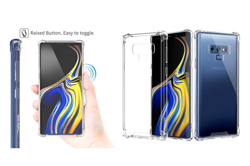 Moko Samsung Galaxy Note 9 Case, Crystal Clear Reinforced Corners TPU Bumper Cushion + Anti-Scratch Hybrid Rugged Transparent Panel Cover Case Samsung Galaxy Note 9 - Crystal Clear
