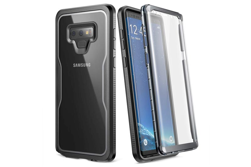 YOUMAKER Crystal Clear Case Galaxy Note 9, Full Body Built-in Screen Protector Heavy Duty Protection Slim Fit Shockproof Rugged Cover Samsung Galaxy Note 9 (2018) 6.4 inch - Clear/BK