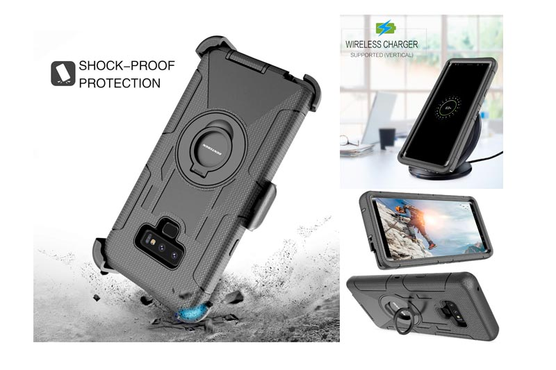 BENTOBEN Case for Samsung Note 9, Shockproof Heavy Duty Rugged Hybrid Hard PC Soft Silicone Full Body Protective Phone Case with Kickstand Belt Clip for Samsung Galaxy Note 9,Black