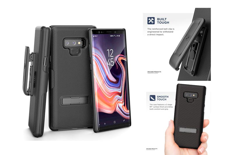 Encased Belt Case Galaxy Note 9 Case Kickstand, Ultra Slim Grip Cover Holster Shell Combo Clip Durable Metal Media Stand (Galaxy Note 9 Phone) (Slimline Series) (Smooth Black)