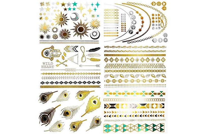 NHI Metallic Temporary Tattoos, 150+ Flash Tattoos Gold Silver, 8 Sheets - Aztec Tattoo, Mandala Tattoo, Mehndi Tattoo, Boho Temp Tattoo