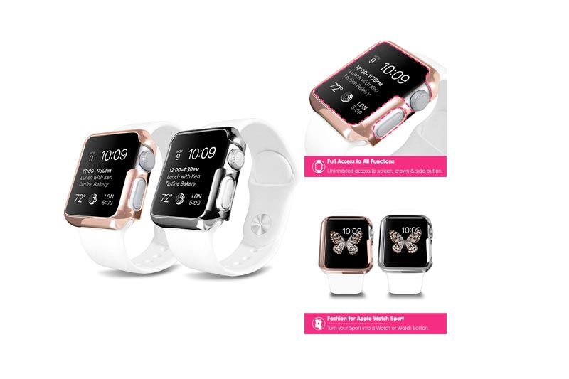 Plated Apple Watch Case - OZAKI O!coat Wardrobe+ 2 in 1 Ultra Slim & Light Weight Case Set for Her. Coat Your Apple Watch Daily / Full Access to All Functions / Compatible with Apple Watch Sport 42 mm