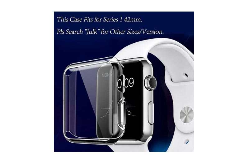 Apple watch case, Julk iphone watch tpu screen protector all-around protective 0.3mm hd clear ultra-thin cover for i watch (apple watch 42mm case)