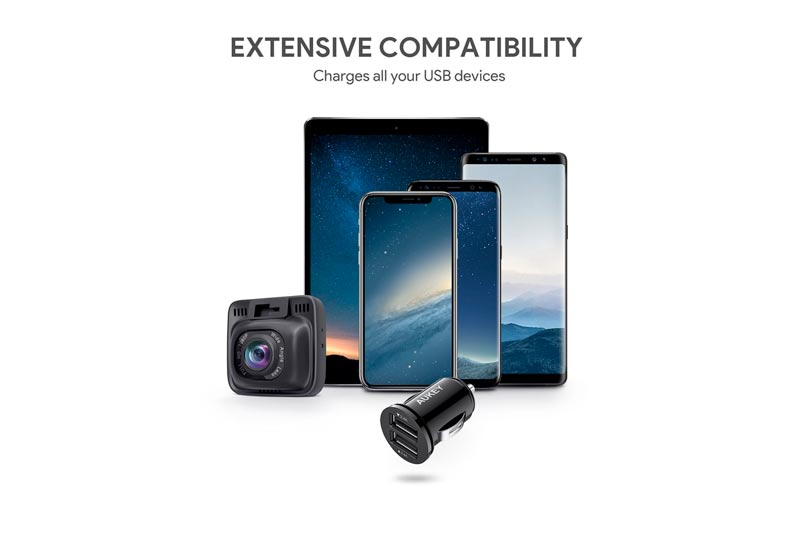 AUKEY Car Charger, Flush Fit Dual Port 4.8A Output for iPhone X/8/7/Plus, iPad Pro/Air 2/mini, Samsung Galaxy Note8/S8/S8+ and More - Black