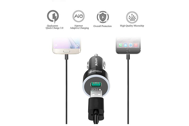 Ailun Fast Car Charger QC 3.0 Adapter,Dual USB Port 35W,for Mobile Device,Compatible iPhone X 8 8 Plus 7 7 Plus,6 6s,6s Plus,SE 5s,Galaxy S9 S9+ S8 S8+ S7,S6,Note 9 8 5 4 3,Nexus 7 6 HTC[Red Light]