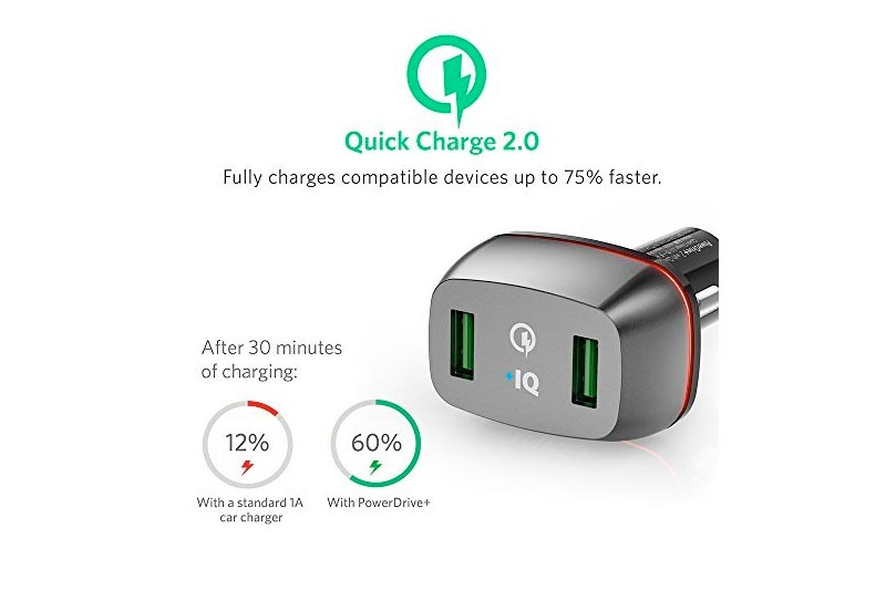 Anker Car Charger for Galaxy S7/S6/Edge/Plus, Note 5/4 and PowerIQ for iPhone X/8/7/6s/Plus, iPad Pro/Air 2/mini, LG, Nexus, HTC and More, Black