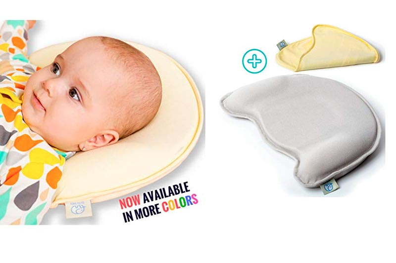 Baby Head Shaping Memory Foam Pillow - 2 Organic Cotton Covers Included - Prevents Newborn and Infant Flat Head Syndrome - Organic - Breathable - Protective (Grey&Yellow)