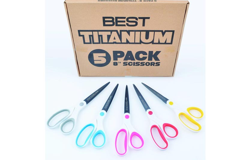 """Best Titanium Scissors - 5 Pack - 8"""" Blade - (STRONG TITANIUM STEEL) - Comfortable Soft Handles in a Variety of Colors - Multi-Purpose Shears - Perfect for Cutting Paper, Fabric, Photos, & More"""