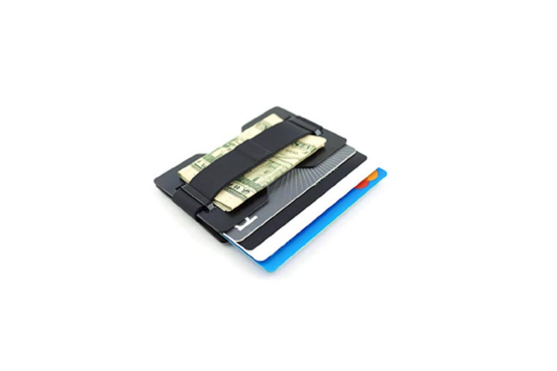 Radix One Black Steel - RFID Blocking Minimalist Front Pocket Ultra Thin Strong Wallet Money Clip