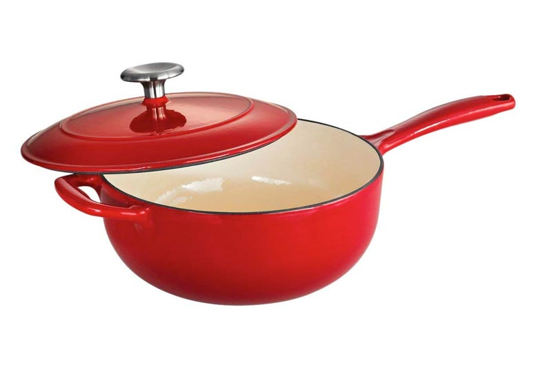 Tramontina Enameled Cast Iron Covered Saucier, 3-Quart, Gradated Red