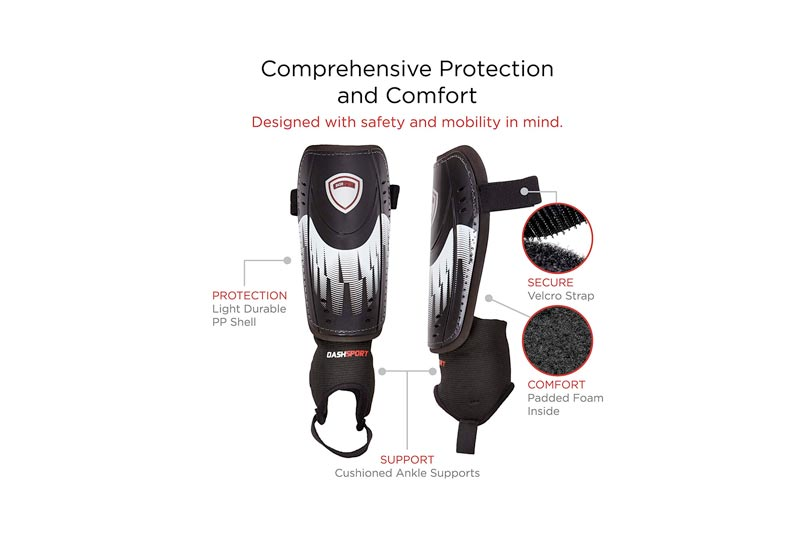 DashSport Soccer Shin Guards -Youth Sizes Best Kids Soccer Equipment Ankle Sleeves - Great Boys Girls