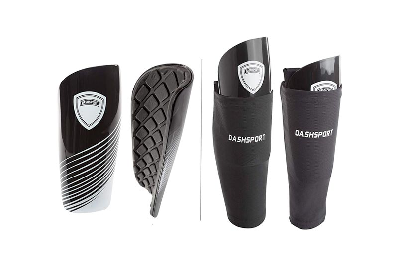 DashSport Soccer Shin Guards Youth - by Includes Two Shin Guards and Two Compression Calf Sleeves with Pockets