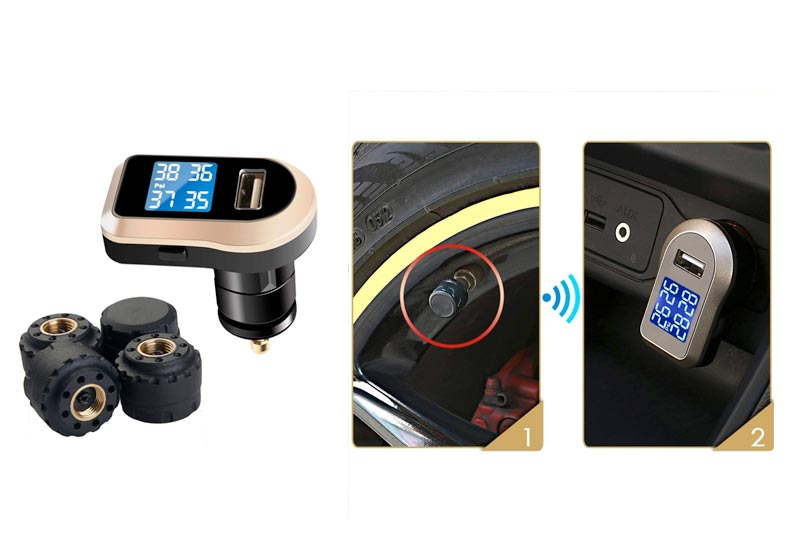 Vesafe Tire Pressure Monitoring System TPMS with 4 DIY External Cap Sensors (0-6Bar/0-87Psi), Wireless Real-time Cigarette Lighter Plug TPMS CL-203 with USB Charging Plug (Current: 2A)