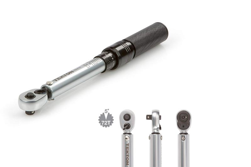 TEKTON TRQ21101 1/4-Inch Drive Dual-Direction Click Torque Wrench (10-150 in.-lb./1.1-16.9 Nm)