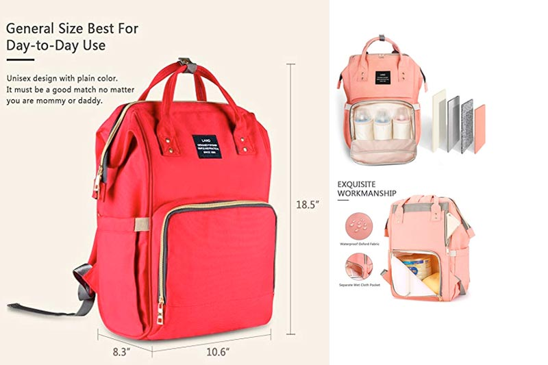HaloVa Diaper Bag Multi-Function Waterproof Travel Backpack Nappy Bags for Baby Care, Large Capacity, Stylish and Durable, Orange