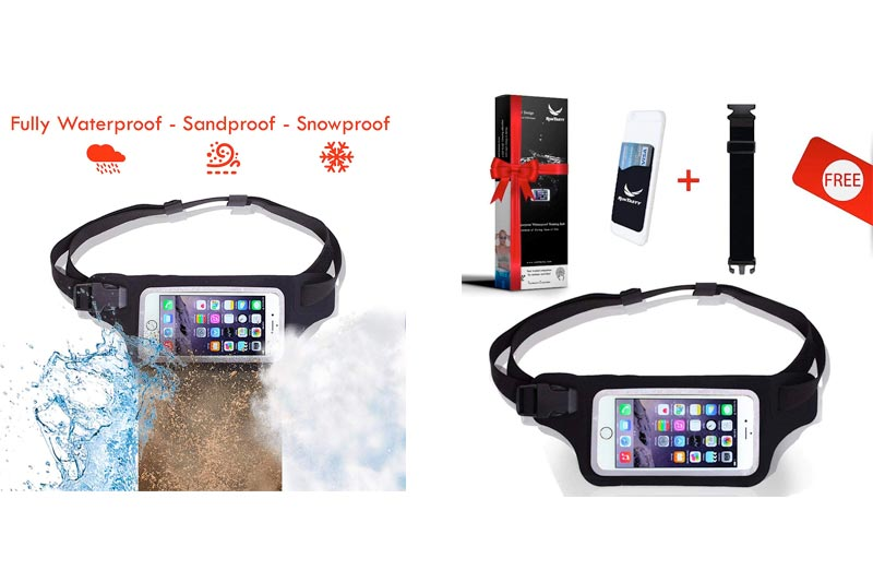 New Waterproof Running Belt Fanny Pack for iPhone 6, 7, X, 8, 8 Plus and Android Samsung S7/8/9 - W/Touchscreen Window - IPX8 Rated Waist Bag for Fitness, Travel, Beach, Kayaking, Fishing and More!