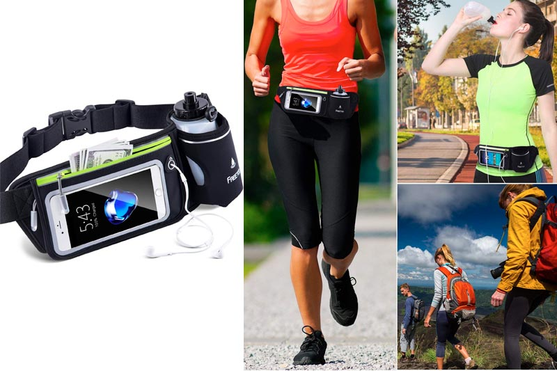 FREETOO Hydration Belt with 10oz BPA-Free Bottles Leak-Proof, Adjustable Running Fuel Belt, W/Touchscreen Zipper Pockets Water Resistant Bounce Free, Fits iPhone 6-8Plus &5.5'' Smartphones