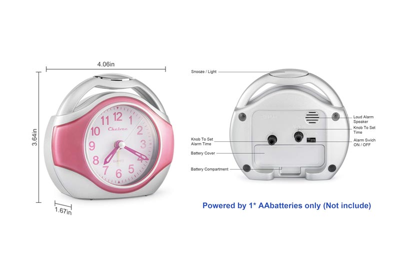 Chelvee Alarm clock, Portable Quartz Analog Alarm Clock for Kids and Traveler, Night Light, Snooze, Non-Ticking, AA Battery Powered (Pink)