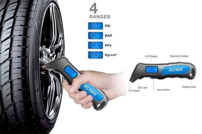 Digital Tire Pressure Gauge Car Mountain Bike Motorcycle 100 Psi - NUWA