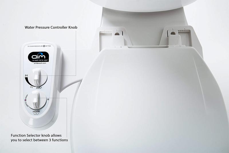 Bidet Attachment With Dual Nozzles and Self Cleaning