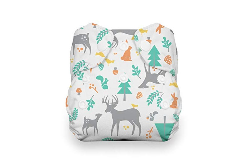 Thirsties Newborn All in One Cloth Diaper, Snap Closure, Woodland