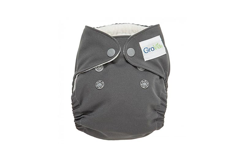 GroVia Newborn All in One Snap Reusable Cloth Diaper (AIO) (Cloud)