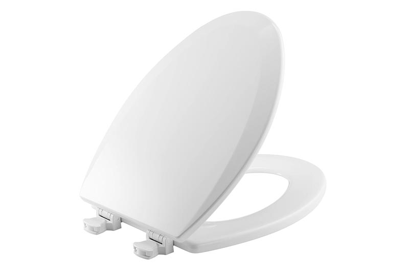 Bemis 1500EC 000 Molded Wood Elongated Toilet Seat With Easy Clean & Change Hinge, White