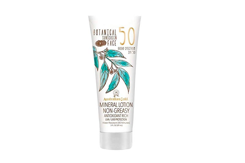 Australian Gold Botanical Sunscreen Tinted Face Mineral Lotion, Non-Greasy, SPF 50, 3 Ounce