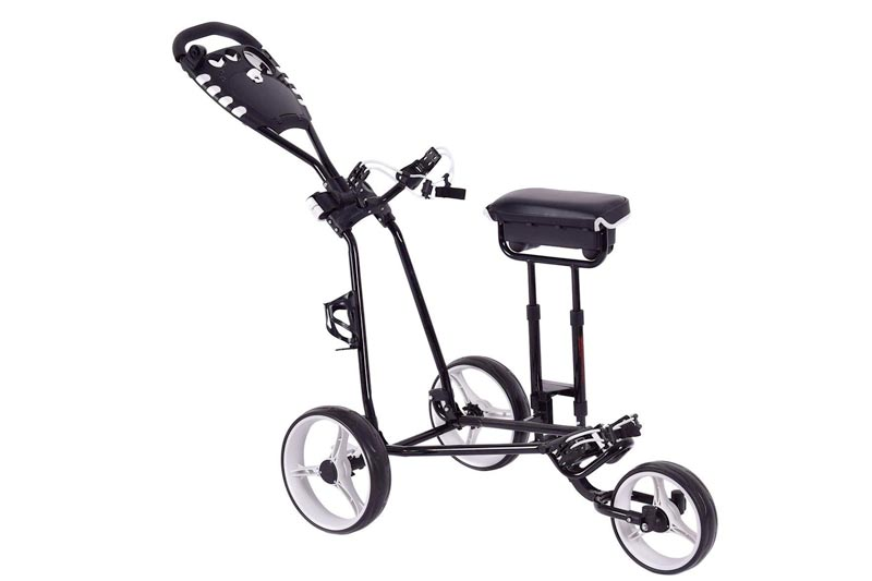 TANGKULA Golf Push Pull Cart w/ 3 Wheels Golf Trolley with Stool Scoreboard Swivel