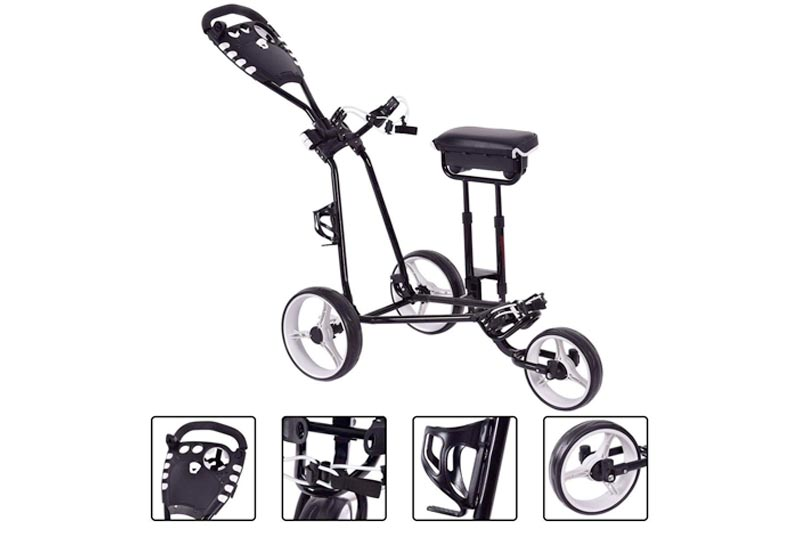 BeUniqueToday Foldable 3 Wheels Push Pull Golf Club Cart Trolley w/Stool, Foldable 3 Wheels Push Pull Golf Club Cart Trolley with Two Functional Foot Operated Brakes, Golf Club Cart Trolley w/Stool