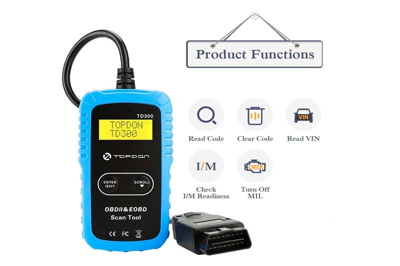 TT TOPDON TD300 OBD2 Scanner, Car Code Reader Check Engine Light Turn-Off, I/M Readiness Status Monitoring Vehicle Info Retrieving