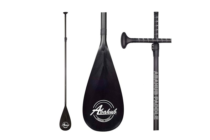 ABAHUB Carbon Fiber SUP Paddle 3-Piece Adjustable Carbon Shaft Black Plastic Blade + Bag