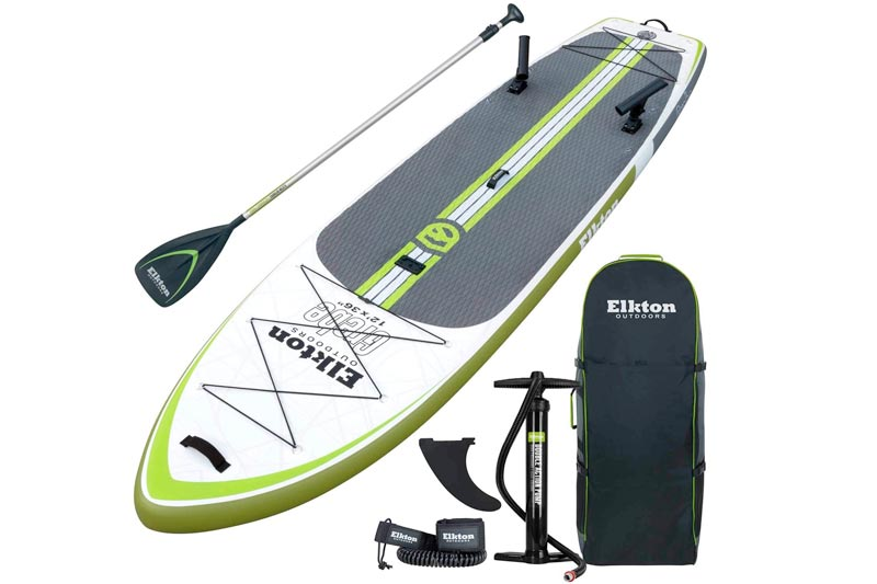 "Elkton Outdoors Grebe 12"" Inflatable Fishing Paddle Board with Non-Slip Eva Foam Deck, 2 Fishing Rod Holders & Accessory Mount- Carry Pack, Paddle, High Pressure Pump & Ankle Leash Included!"