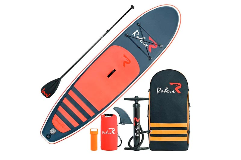 "ROKIA 10'6"" Inflatable SUP Stand Up Paddle Board (6"" Thick) iSUP for Fitness, Yoga, Fishing on Flat Water, Orange"