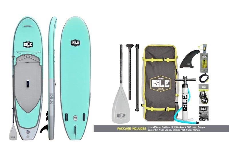 "ISLE Airtech Inflatable 10'6"" All Around Stand Up Paddle Board (6"" Thick) iSUP Package 