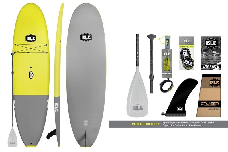 "ISLE Cruiser Soft Top Stand Up Paddle Board (4.5"" Thick) SUP Package 