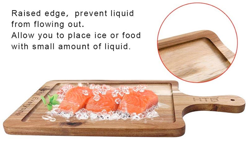 """Rectangular Paddle Board Acacia Wood, Wooden Cutting Board Carved""""LUCK EVERYONE"""", Serving Board With Handle By HTB"""
