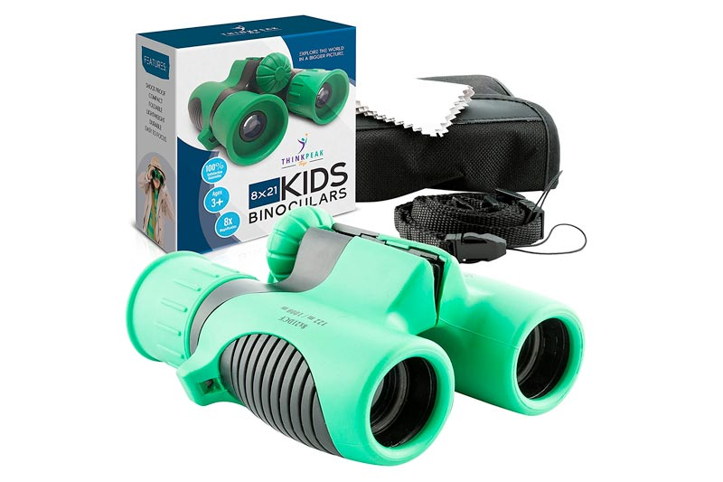 Binoculars for Kids High Resolution 8x21 - Think Peak Toys - Best Compact Binocular Set for Bird Watching, Hiking, Outdoor Games, Camping, Backyard Safari, Learning, Outside Play, Boys and Girls Gifts