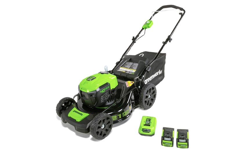 Greenworks 21-Inch 40V Brushless Cordless Mower, Two 2.5 AH Batteries Included MO40L2512